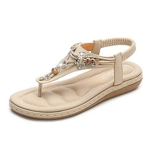 Frauen Flache Sandalen, Sommer Große Größe Lässig Bequeme Walk Arch Support Strand Schuhe, Böhmischen Stil Strass Perlen Hausschuhe,Apricot,37
