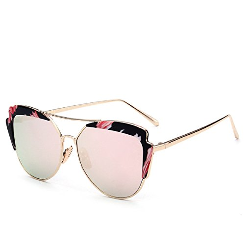 WKAIJC Metallgestell Weibliche Modelle Mode Kreativität Individualität Gezeiten- Katze Ohren Runde Dunkle Brillen Sonnenbrillen,D