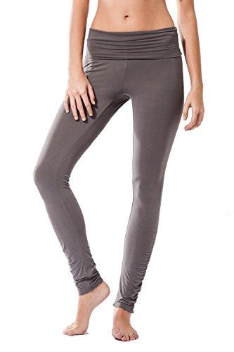 Pantalon Fitness para mujer, Dhana de Sternitz, ideal para hacer pilates, yoga y cualquier deporte, tela de bambú, ecológica y suave. Pantalón largo pegado. Muy Cómodo. (S, Gris)