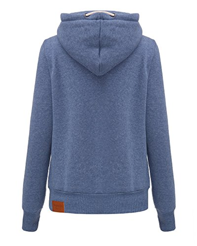 StyleDome Winter Damen Hoodies Pullover Langarm Jacke Top Sweatshirt Pullover Tops Jumper Blau333850 XL - 4