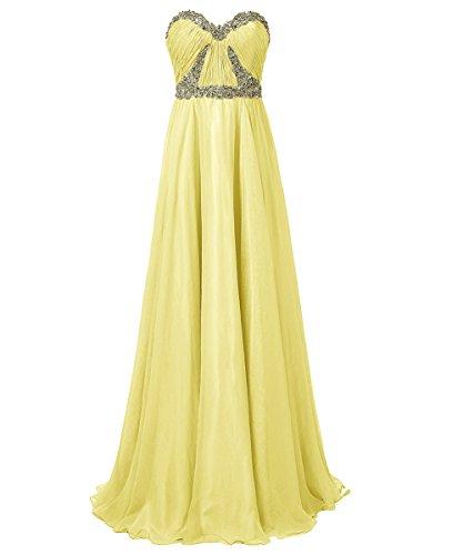 Dresstells Damen Herzform Brautjungfernkleider Strapless Abendkleider Gelb