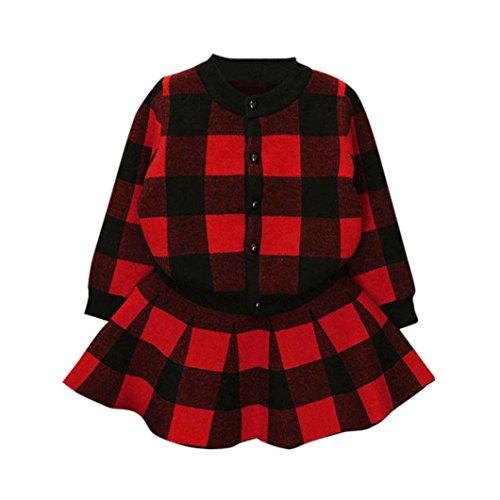 Janly Kleinkind Kinder Baby Mädchen Outfit Kleidung Plaid Strick Pullover Mantel Tops + Rock Set (4T, Rot) - 4t Rock