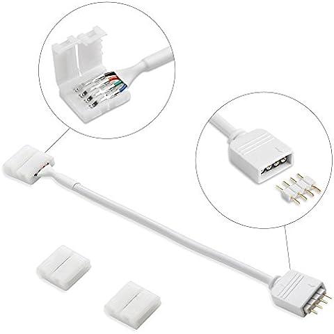 LE Kit de accesorios para tiras RGB LED de SMD 5050, 1 pza de cable de conexión + 2 pzas de conectores 4-pin 10mm para unión entre tira y tira