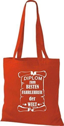 shirtstown Borsa di stoffa DIPLOM PER MIGLIOR fahrlehrer DEL MONDO Rosso