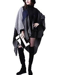 HENGSONG Cape Femme Tricot Carreaux Tartan Style,Ouverture Extra Large écharpe Châle Poncho Automne Hiver