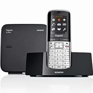Gigaset - SL400 - Siemens - Téléphone sans Fil - DECT/GAP - Bluetooth - Noir/Argent