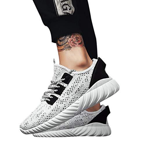 Herren Laufschuhe,Freizeitschuhe Herren Schuhe Sneaker Mode Atmungsaktives Mesh Kreuz Gym, Joggingschuhe (EU:40=CN:41, Weiß)