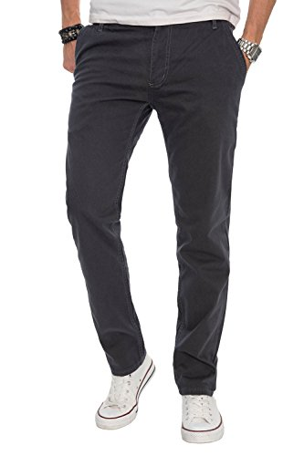 Baumwolle Chino-hosen (A. Salvarini Herren Designer Chino Stoff Hose Chinohose Regular Fit AS016 [AS016 - Anthrazit - W34 L30])