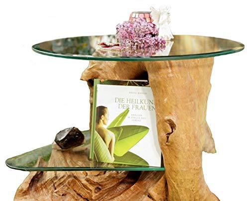 Windalf Alexia Table Basse Design en Bois de Racine avec Plateau en Verre Ø 60 cm Hauteur 50 cm