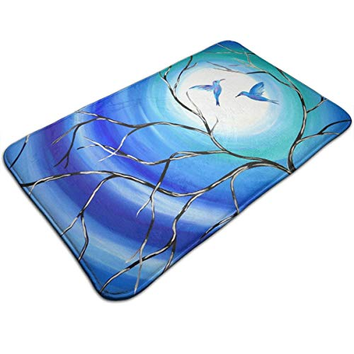 Myhou Full Moon Tree Birds Love Blue Doormat Entrance Floor Rug Indoor Mat Non-Slip Flannel for Bedroom Bathroom Living Room Kitchen Home Decorative -