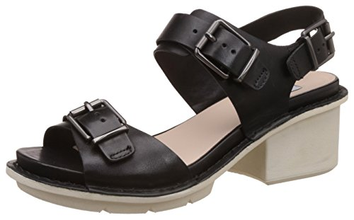 Clarks Hexton Glitz, Damen Slingback Sandalen, Schwarz (Black Leather), 41 EU (7 Damen UK)