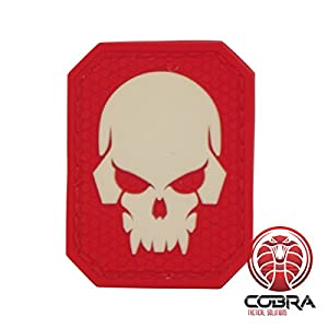 Cobra Tactical Solutions Fluo Skull tête de Mort 3D PVC Patch Rouge Hook & Loop Airsoft