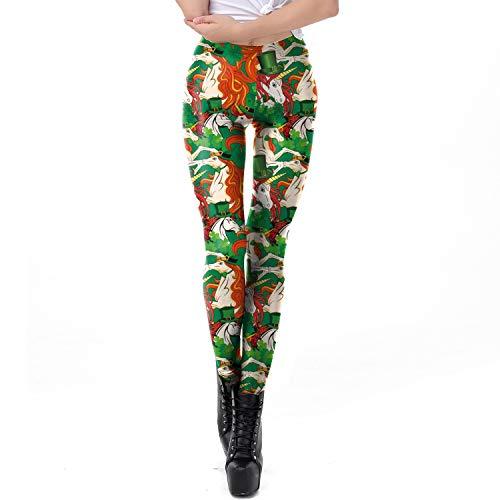 Zhanying Damen St.Patrick's Day Grünes Kleeblatt Leggings 3D gedruckt Yoga atmungsaktiv Hüften Füße neun Hosen Strumpfhosen Sport Fitness (Color : Multi-Colored, Size : M)