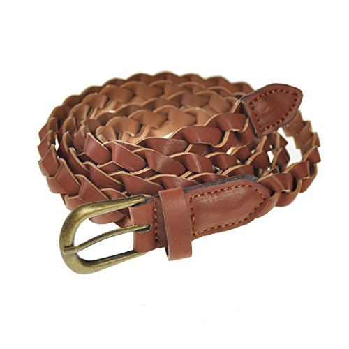 Cloud9basic Extra Long Classic PU Leather Skinny Braided Belt with a Vintage Antic Metal Buckle, Width: 0.7 inch