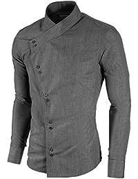 MODERNO - Slim Fit Asymmetrisch Freizeit Herrenhemd (MOD1430LS)