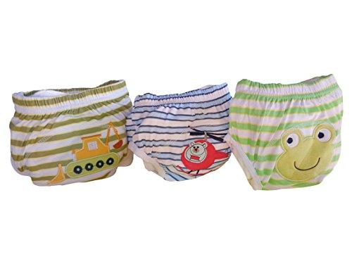 Three Little Imps Culottes d'apprentissage de la propreté - Lot de 3 Taille Grand-Grenouille/ Pelleteuse/ Hélicoptère