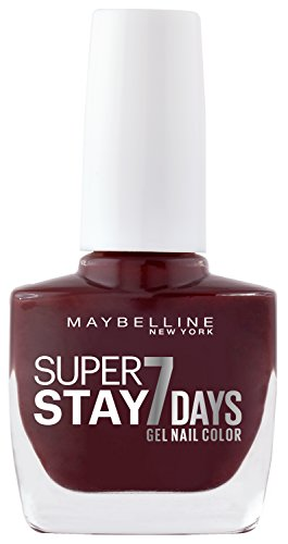 Maybelline New York Make-Up Super Stay Nailpolish Forever Strong 7 Days Finish Gel Nagellack Midnight Red / Farblack mit ultra starkem Halt ohne UV Lampe in kräftigem Dunkelrot, 1 x 10 ml (Make-up Forever Uv)