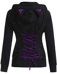 Femme Pullover Sweat-Shirt Chemisier Oreilles De Lapin Hoodies Cosplay Hooded Kawaii Chemisier Streetwear Chaud Zip
