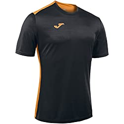 Joma Campus II Camiseta de Juego Manga Corta, Hombre, Negro/Naranja Fluor, XL
