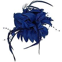 Azul marino de cuentas de flores de capas y plumas con broche tocado