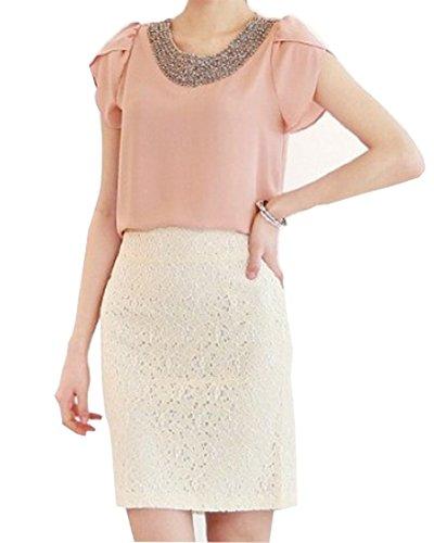 Femme Chemisier Casual Mousseline De Soie A Manche Courte T Shirt Top pink
