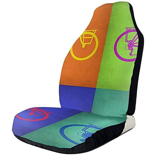 Not applicable Coprisedili Anteriori Colorati per Biciclette Vintage 2 Pezzi, coprisedili per Auto, sedili Anteriori, Adattamento Universale, SUV, Camio