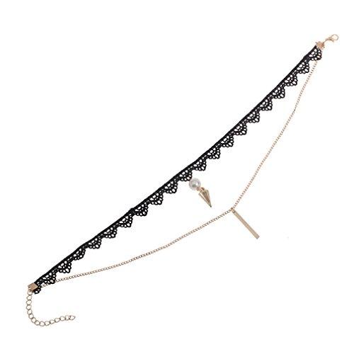 YAZILIND Gothic Lolita Alloy Awl Cuboid Künstliche Perle Anhänger Multi Layer Lace Choker Verstellbar für Frauen & Mädchen