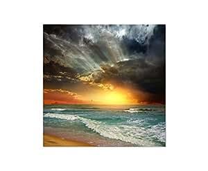 80x 80cm–quadro da parete su spiaggia, mare, onde tramonto nuvole–tela su telaio elegante e moderna–immagini e decorazione