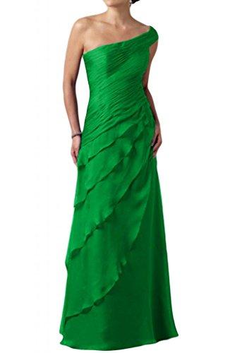 Toscane mariée une épaule multicouche longue de soirée en chiffon abendkleider ballkleider abendmode fixes Vert - Vert