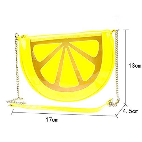 AiSi Mädchen 3D kleine süße Obst Tasche mini Umhängetasche moderne Handtasche transparente Abendtasche Clutch Party-bags mit Umhängekette Reißverschluss Wassermelone Zitrone