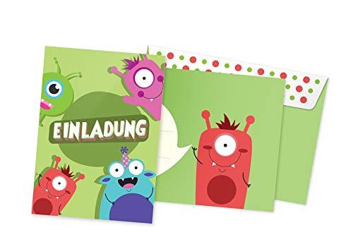 Friendly Fox Einladungen Monster - 12 Monster Einladungskarten Geburtstag Kinder Jungen Mädchen - Einladung Kindergeburtstag - Geburtstagseinladung Monster - inkl. passende Umschläge (Monster 2)