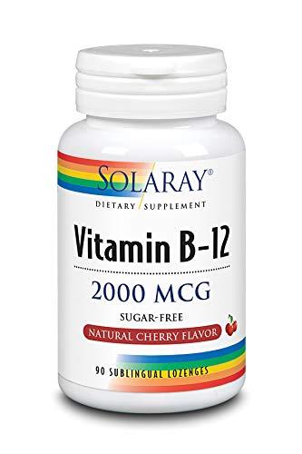 Solaray Vitamina B-12 2000mcg | Sabor a cereza natural sin azúcar | Energía saludable y apoyo de los glóbulos rojos | 90 Lozenges