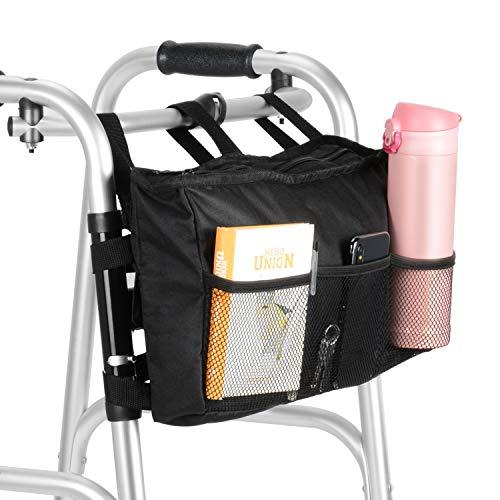 SupreGear Walker Tasche, Hochwertige Klapp-Walker Tasche Organizer Sack Totalisator für Jeder Walker Stylen Rollator und Rollstuhl, Maschinenwaschbar - Schwarz