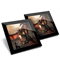 Awesome Set of 2 x Glass Coasters - Dragon Knight Battle Fantasy Art Glossy Quality Coasters/Tabletop Protection for Any Table Type #14092