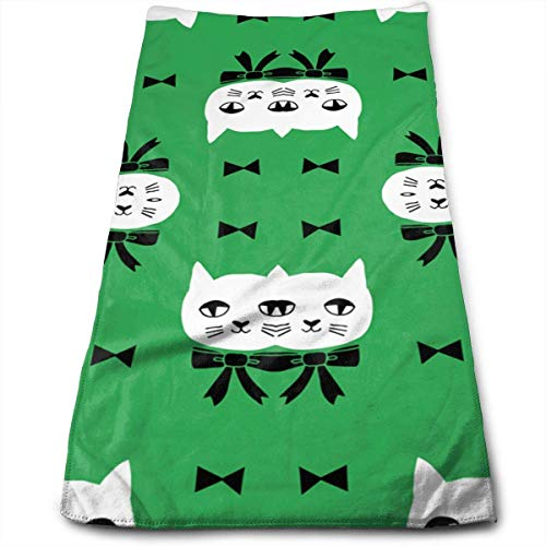 Osmykqe Fancy Cat Green Microfiber Lightweight Soft Fast Drying