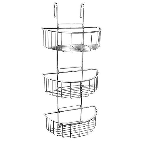 Duschregal zum Einhängen an die Duschwand oder Duschabtrennung von SANIXA / 3 Ablagen / rostfrei / Duschablage hängend ohne Bohren / Duschkorb Wannenablage / Stabile Ausführung Messing verchromt