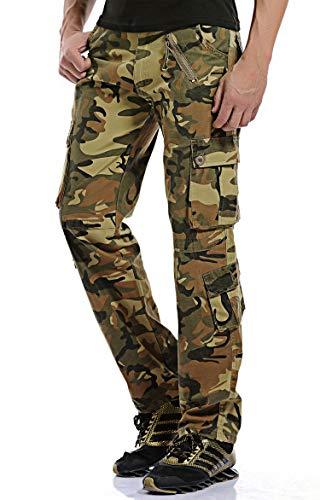 Gmardar Herren Camouflage Hose Baumwolle Cargo Rangerhose militäre Jogging Pants mit Vielen Taschen und Seitentaschen für Outdoor Wandern Camping Sport (Camo-A, XL) - Männer Camouflage