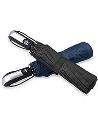 Parapluie Pliant,Omew 2 Parapluies Pliants Coupe-Vent Parapluie Pliable et Compact avec 10 Baleines 210T Parapluie Incassable Ouverture et Fermeture Automatique pour Homme et Femme Noir et Bleu