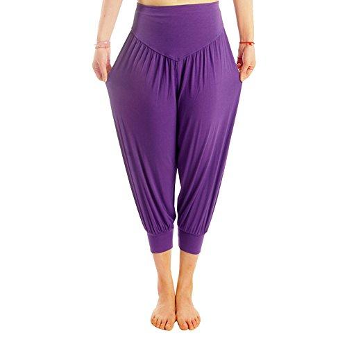 DaoJian Femmes Super Soft Spandex Yoga Bloomers Pants Violet