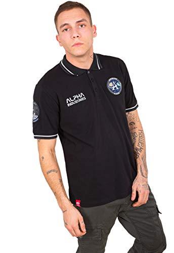 Alpha Baumwolle Polo-shirt (Alpha Industries Herren Poloshirt Moon Landing Polo (M, Black))