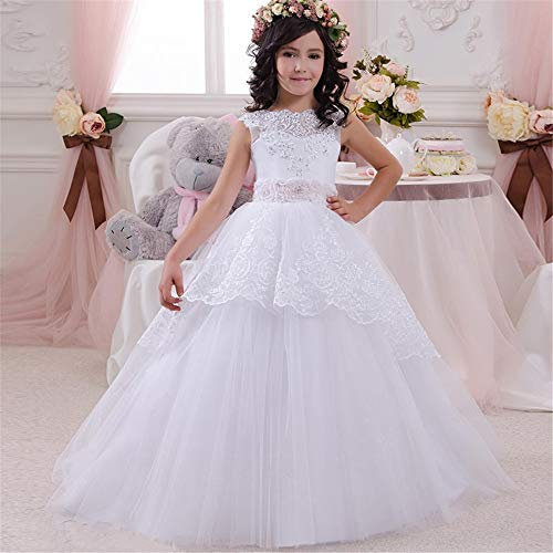 Wenzhihua Robes De Fête Enfants Toddler Kinder Lace Dance Party Performance Mädchen Spitze Tutu Princesse Costume Robe de bal de bal (Größe : 8-9T)
