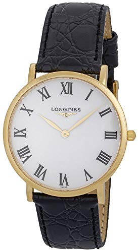 Longines Presence 18K Solid Gold L48246112 Black Leather Strap White Dial Quartz Mens Watch