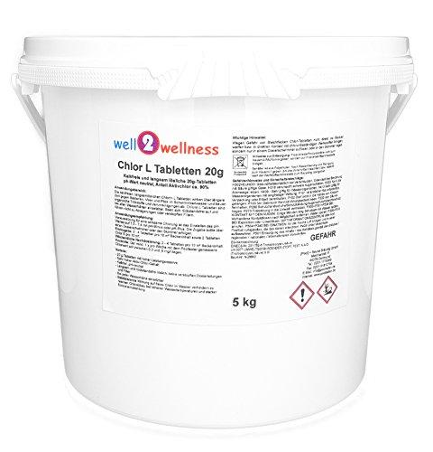 well2wellness Chlor L Tabletten 20g - langsamlösliche Chlortabletten 20g mit 90{42a22c3e276cab062c52758cc08e7e406f618c8d8647e36930099f394c3720a2} Aktivchlor, 5,0 kg