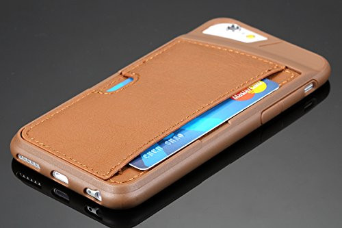 """JewelryWe 2in1 TPU Silikon Leder Handy Case Karten Pack Schutzhülle Tasche Hülle Rückenschutzhülle Etui für Apple iPhone 6(4,7""""), Farbe Braun Braun"""