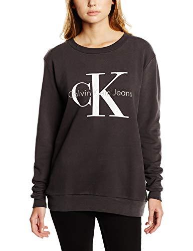 Calvin Klein Jeans Damen CREW NECK HWK TRUE ICON Sweatshirt, Schwarz (Meteorite 965), Small (Icon Crew Sweatshirt)