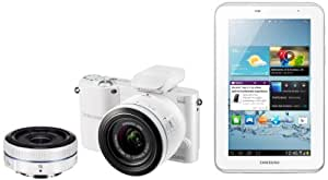Samsung NX1000 Digital Compact System Camera - White (20-50MM F3.5-5.6 II and 16MM F2.4 Lens, 20MP) and Samsung 7.0 Galaxy Tab2 - White (8GB Wi-Fi, Android 4.0) Bundle Kit