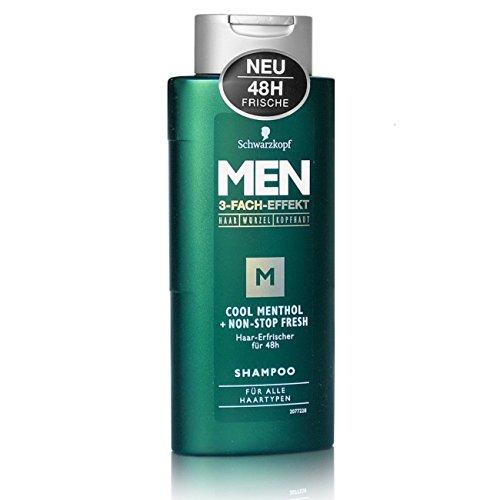 Schwarzkopf Men Cool Menthol Shampoo, 3er Pack (3 x 250 ml)