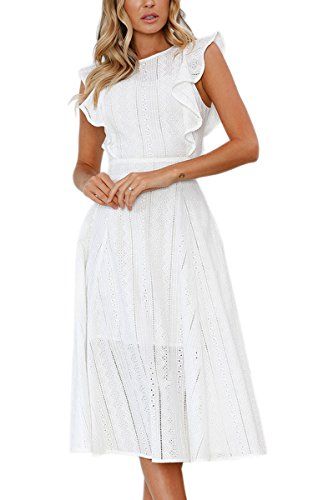 ECOWISH Spitzenkleid Damen Rundhals Ärmellos Sommerkleider Strandkleider A-Linien Kleid Abendkleid Cocktailkleider Knielang Weiß M