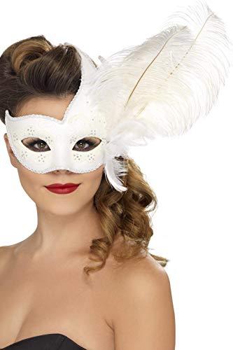 Smiffys Damen Prunkvolle Columbina Augenmaske mit Feder, One Size, Weiß, 24572