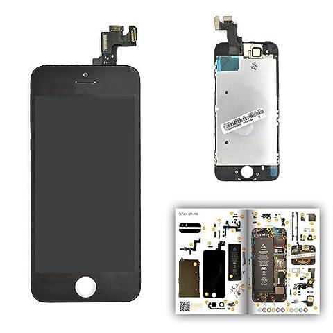 Ecran NOIR COMPLET COMPATIBLE vitre + LCD prémontés sur châssis iPhone 5S avec patron papier d'aide au montage